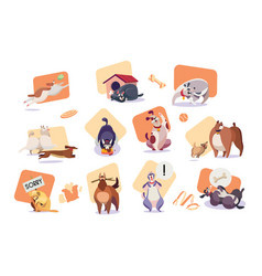 set funny dog icons cute pet cartoon character vector image