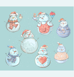 set of cute playful snowmen elements from the vector image