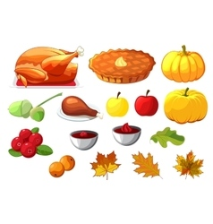 Set of element for Happy Thanksgiving Day on white vector