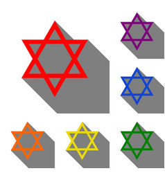 shield magen david star symbol of israel set of vector image