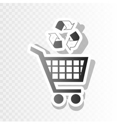 shopping cart icon with a recycle sign new vector image