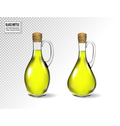 small bottle olive oil with cork stopper vector image