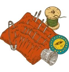 Spool thread button thimble needles and vector