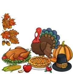 Still life Thanksgiving icons vector