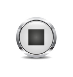stop icon image round 3d button with metal frame vector image