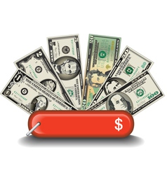 Swiss Knife Money vector image