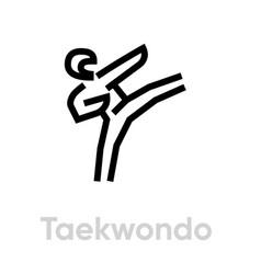 taekwondo sport icons vector image