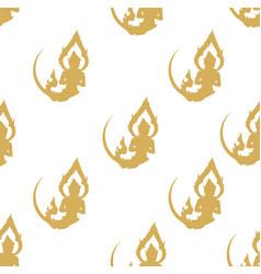 thai art yellow seamless pattern vector image