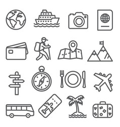 travel and tourism line icon set on white vector image