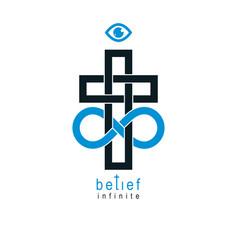 true infinite christian belief in god creative vector image