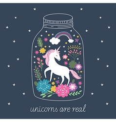 Unicorn in terrarium vector