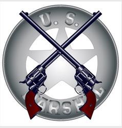 Us marshal guns and badge vector