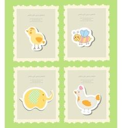 Vintage doodle set little zoo for greeting card vector image