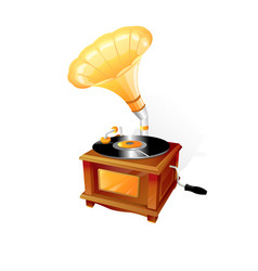 vintage gramophone with recording disk 3d vector image