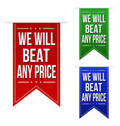 We will beat any price banner design set vector