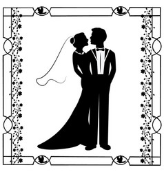 wedding silhouette with flourishes frame 4 vector image