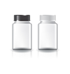 White square medicine bottle black-white lid vector