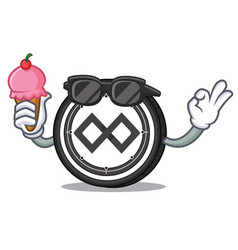 With ice cream tenx coin character cartoon vector