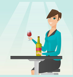 Woman drinking wine in the restaurant vector