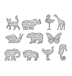 wooden animals silhouette set sketch vector image