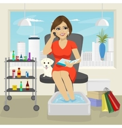 Beautiful woman getting spa pedicure procedure vector image vector image