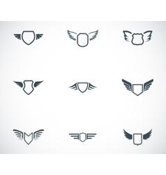 Black shield icons set vector