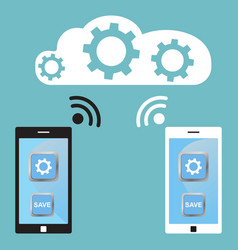 cloud technology white and black smart phone vector image