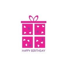 happy birthday gift pink vector image vector image