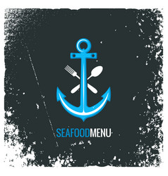 seafood logo with anchor fork and spoon vector image