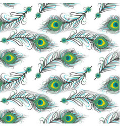 seamless pattern of peacock feathers vector image