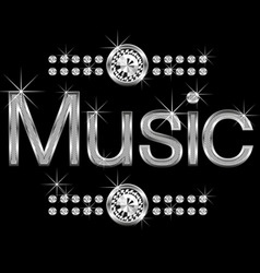 vector thin metal diamond word music big and small vector image vector image