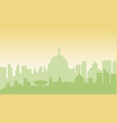 brazil silhouette architecture buildings town city vector image