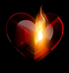 broken heart-crystal and flame vector image vector image