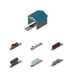 Isometric train set of subway vehicle railroad vector