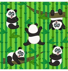 seamless pattern with panda vector image vector image