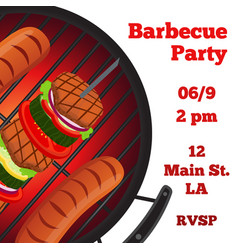 Barbecue party flyer invitation bannerflat style vector