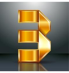 Number metal gold ribbon - 3 - three vector image vector image