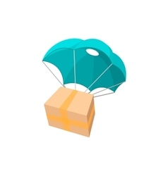 Package with parachute cartoon icon vector image