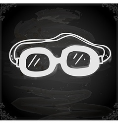 Safety glasses drawing on chalk board vector