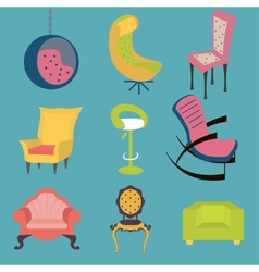 Set of colorful chairs interior detail vector image vector image