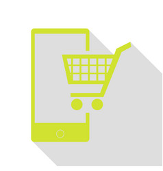 shopping on smart phone sign pear icon with flat vector image vector image