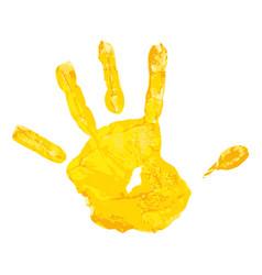 yellow children hand print vector image