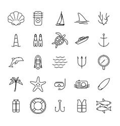 Diving and water activities icons outline icons vector image vector image