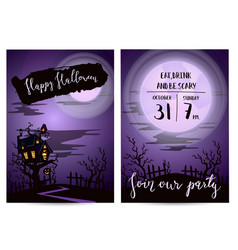 halloween party invitation set with spooky castle vector image