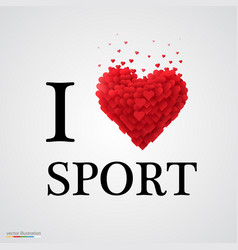 i love sport heart sign vector image vector image