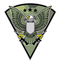 military bird mascot grab a pair of rifle vector image