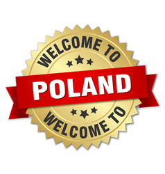 poland 3d gold badge with red ribbon vector image vector image