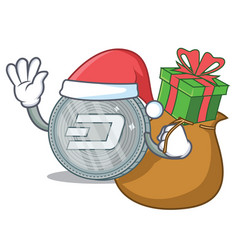 santa with gift dash coin character cartoon vector image vector image