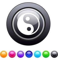 Ying yang circle button vector image vector image