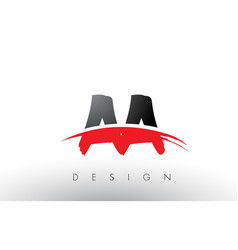 Aa a brush logo letters with red and black swoosh vector